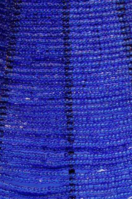 vintage beaded wire lamp shade made in India, cobalt blue glass seed bead candle shade