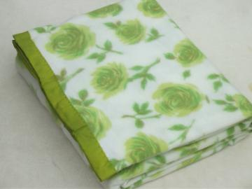 Vintage bed blanketw/ retro green roses print, never used acrylic blanket