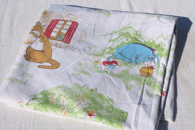 vintage bed sheets lot, retro character prints Garfield, Bird Bird, Pooh, Simpsons
