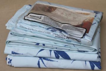 vintage bedding Springmaid cotton blend blue bamboo retro print fabric twin flat sheets