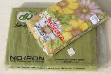 vintage bedding, retro flowered print pillowcases & avocado green sheet in original packages