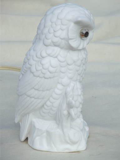 Vintage bisque china owl nightlight, made in Japan ceramic candle bulb lamp