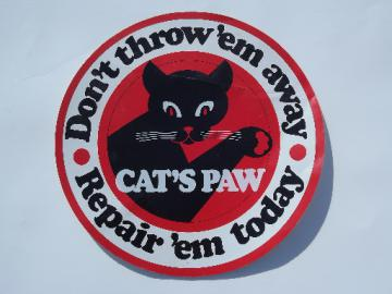 Vintage black cat graphic Cat's Paw  shoe repair advertising decal/sticker