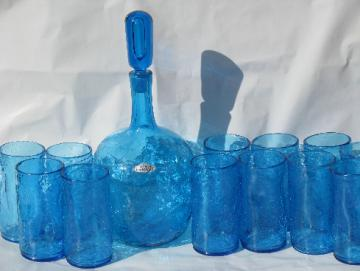 Vintage Blenko blue crackle glass, 12 pinch tumblers, tall mod decanter