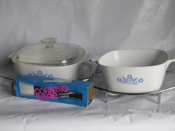 Vintage blue cornflower Corningware, lot casserole dishes, trivets, handle