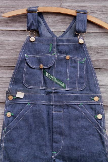vintage blue jeans denim bib overalls, boys work wear Key Imperial label new old stock