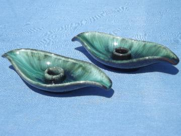 Vintage Blue Mountain pottery candle holders, old three trees Canada mark