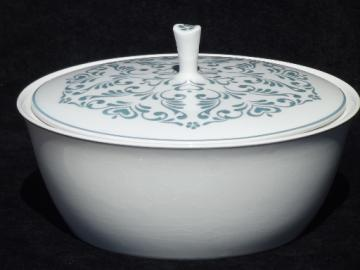 Vintage blue & white covered casserole dish, Independence ironstone