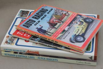 Vintage books lot, all vintage cars - racing autos, history of classic cars