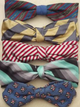 Vintage bow ties lot, collection of  50s 60s clip on bowties
