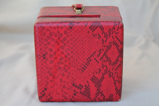 Vintage box bag purse or vanity train case in retro red & black python print