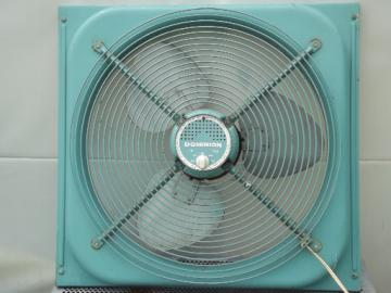 Vintage box fan, machine age factory window fan in 50s turquoise blue