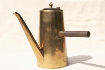 vintage brass coffee pot, mid-century mod stick handle coffeepot made in Japan