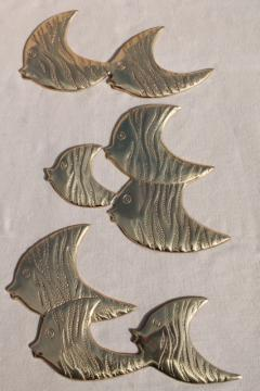 vintage brass fish wall art, retro angelfish, nautical / beach house decor