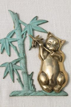 vintage brass panda bear w/ verdigris green bamboo, 70s 80s vintage wall hanging plaque
