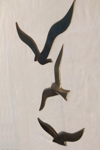 Vintage brass seagulls wall art plaques about 11 1 2 quot to 16 quot across
