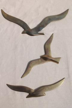 vintage brass wall art, flying gulls seagull birds, nautical / beach house decor