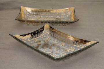 Vintage Briard Persian Garden gold print formed glass dishes for relish trays