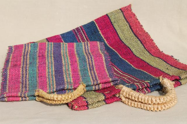 vintage bright striped woven rope market bags, sisal or jute fiber shopping tote bag set