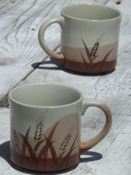 Vintage brown wheat stoneware coffee mugs, retro 70s 80s Japan?