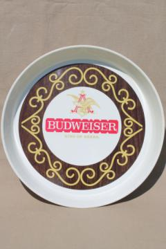 Vintage Budweiser tray, retro 70s collectible beer advertising