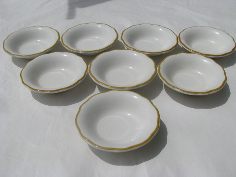Vintage Buffalo china, old American ironstone restaurant ware bowls