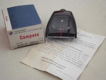 Vintage Buick dashboard compass, GM part number 980543 new old stock