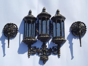 Vintage Burwood plastic candle sconces & mirror wall plaque ivy planter