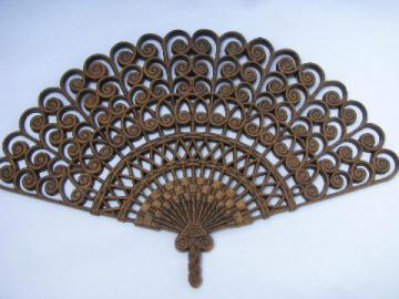 Vintage Burwood plastic wall art hanging plaque, large 'rattan' fan