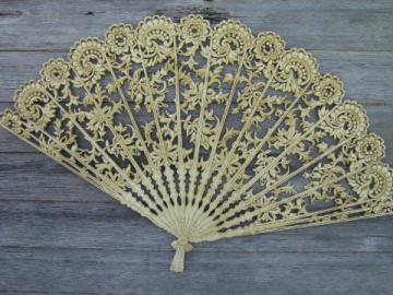Vintage Burwood plastic wall plaque or bed headboard, ivory lace fan