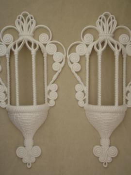 Vintage Burwood plastic wall plaques, white wicker ivy planter baskets