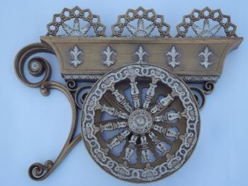 Vintage Burwood wall art,  gold flower garden cart w/ french fleur de lis