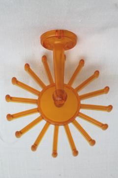 vintage butterscotch plastic wheel hanging rack, scarf or necklace holder for closet / jewelry storage