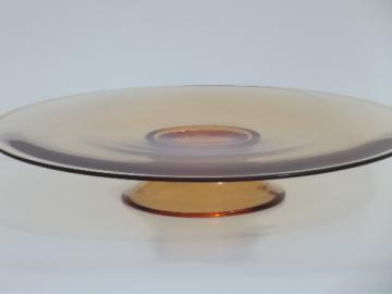 Vintage cake stand, low footed pedestal plate, Fostoria amber glass