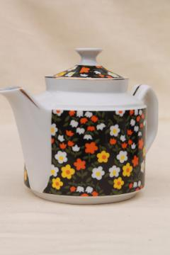 vintage calico chintz china teapot w/ retro flowers, 60s 70s Japan