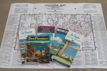 Vintage California road map lot, San Francisco & Los Angeles 1960s maps