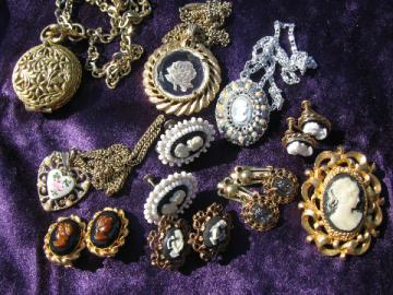 Vintage cameos lot, cameo pins & earrings, glass intaglio pendant necklace