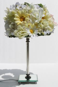 vintage candlestick lamp w/ silly daisy lampshade, all over silk flowers like a 60s pill box hat!
