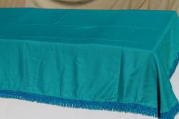 Vintage Cannon bedspread, 60s turquoise linen weave twin bed spread with blue green fringe