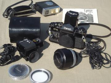 Vintage Canon F1 35mm camera, 1970s SLR film camera w/ accessories