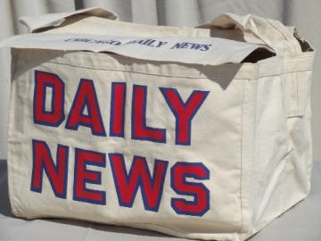 Vintage canvas messenger bag, Chicago Daily News paperboy newspaper bag
