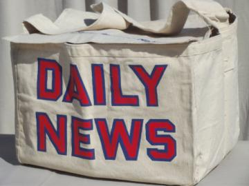 Vintage canvas messenger bag, Chicago Daily News paperboy newspaper bag