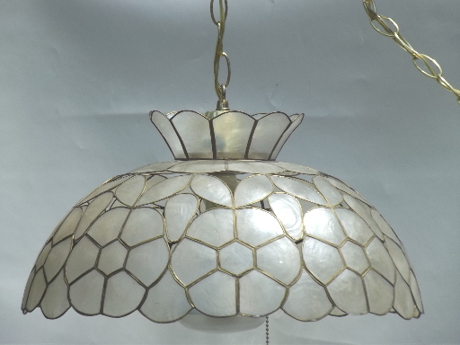 vintage capiz shell light retro 60s 70s swag lamp w mod flowers shade