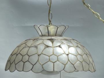 Vintage capiz shell light, retro 60s 70s swag lamp w/ mod flowers shade