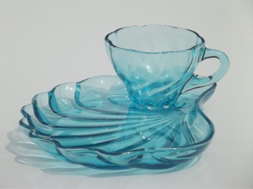 Vintage capri blue glass snack sets swirled seashell
