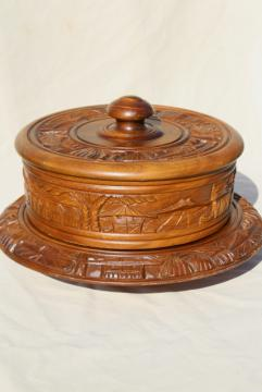 vintage carved wood lazy susan & cover, tropical tiki bar style serving tray cake stand