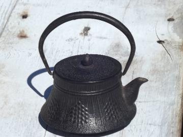 Vintage cast iron teapot, small unmarked tree tetsubin kettle tea pot