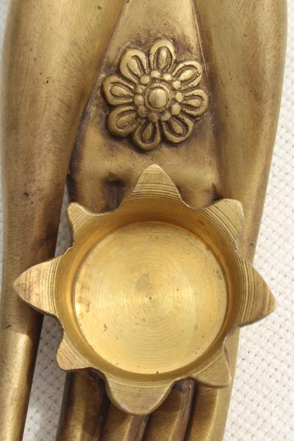 vintage cast metal lady hand candle holder paperweight, deco modern hollywood regency
