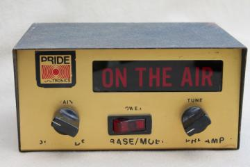 Vintage CB or shortwave radio pre amp with light up  ON THE AIR transmission sign, Pride DB-20