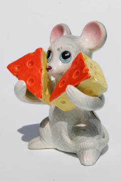 vintage ceramic S&P shakers set, adorable mouse or rat w/ swiss cheese wedges